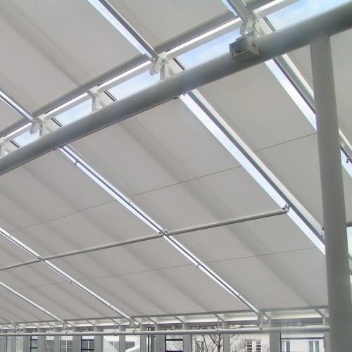 Close up of tension blinds