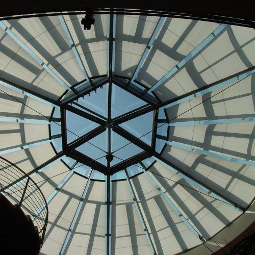 Atrium blinds closed