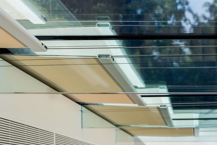 Close up of tension blinds system