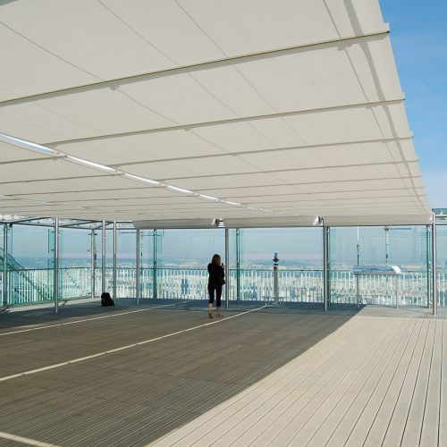 Tess 512 tension blinds on rooftop terrace